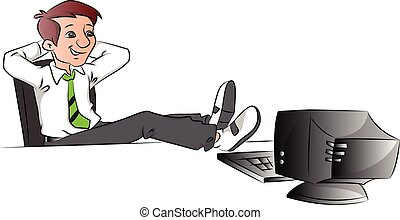 Vector of successful businessman relaxing with legs on table.