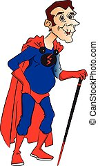 Vector of superhero with stick.