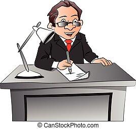 Vector of surprised businessman working at desk.
