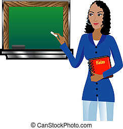 Teacher with Chalkboard - Vector of Teacher with Chalkboard...