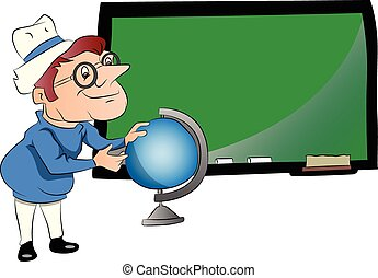Vector of teacher with globe in front of chalkboard.