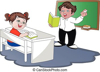 Vector of teacher with student in classroom.