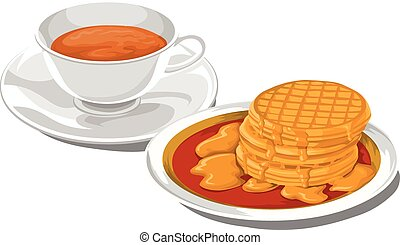 Vector of teacup with pancakes for breakfast.