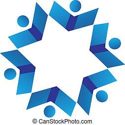 Vector of teamwork books logo