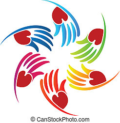 Vector of teamwork heart hands logo