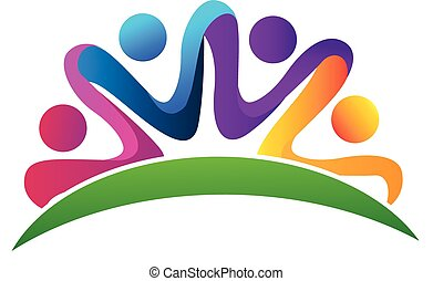Vector of teamwork hug logo
