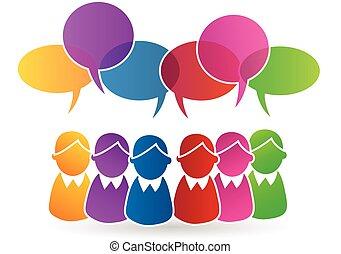 Vector of teamwork speech group