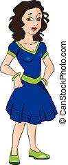 Vector of teen girl with hands on hip.