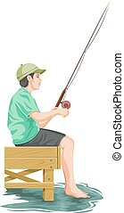 Vector of teenage boy fishing.
