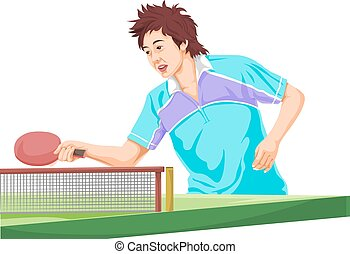 Vector of teenager playing table tennis.