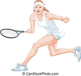 Vector of tennis player in action. - Vector illustration of...