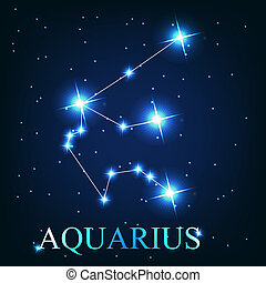 vector of the aquarius zodiac sign of the beautiful bright stars on the background of cosmic sky