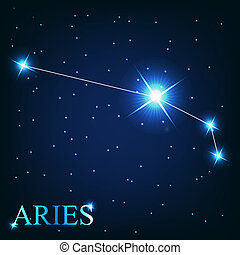 vector of the aries zodiac sign of the beautiful bright...