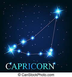vector of the capricorn zodiac sign of the beautiful bright stars on the background of cosmic sky
