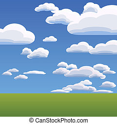 vector of the clouds on blue sky - summer landscape with ...