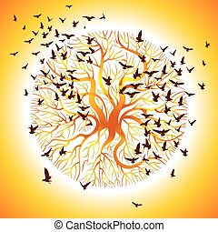 vector of the crows on the tree