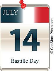 Bastille Day - Vector of the date white block calendar ...