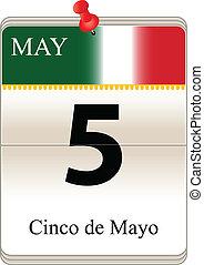 Vector of the date white block calendar Cinco de Mayo, May 5th