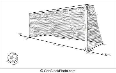 vector of the football ball and goal, sketch
