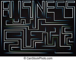 vector of the word Business turning into a maze