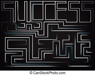 vector of the word Success turning into a maze
