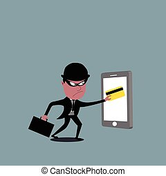 Vector of thief holding a credit card. Hacker stealing credit card data.