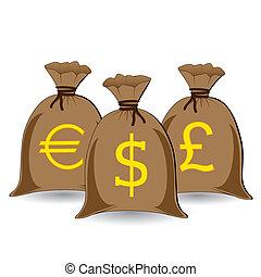 vector of three full money sacks