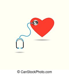 Vector of tools doctor a stethoscope with red heart for healthy concept.