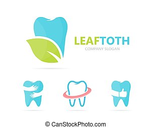 Vector of tooth and leaf logo combination. Dental and eco symbol or icon. Unique clinic and organic logotype design template.