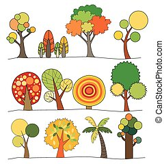 Vector of Tree icon set