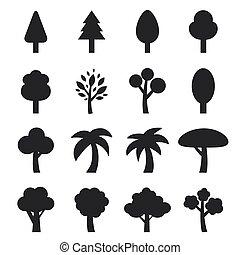 vector of tree icon set