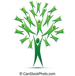 Vector of tree teamwork people logo