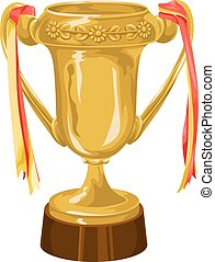 Vector of trophy with ribbon.
