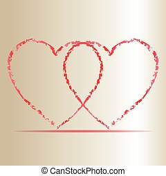 Vector of two hearts colored red on a cream background
