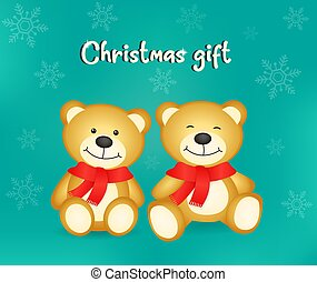 Vector of two little brown bears very cute