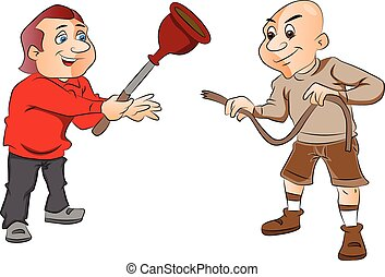Vector of two men with plunger and a hose.