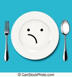 Vector of unsure face draw on plate