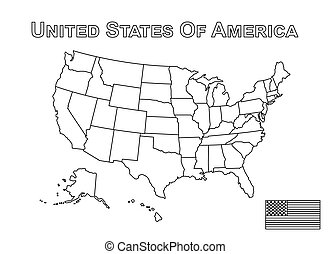 Vector of USA map and american flag . Outline style .