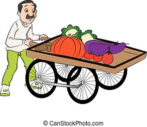 Vector of vendor pushing vegetable cart. - Vector...