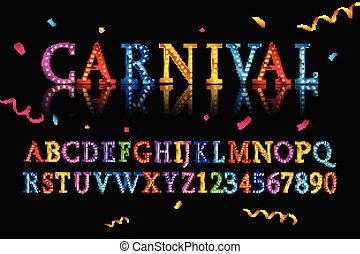 vintage circus and western abc font illustration of a set of retro