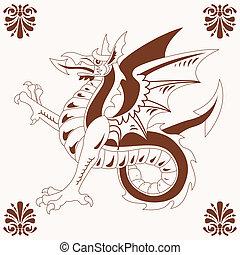 Vintage medieval dragon (Wyvern)