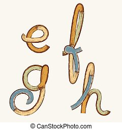 vintage stylized painted color wooden font and alphabet.