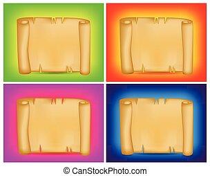 vector, of, wallpaper., set, spandoek, kleurrijke, poster, boekrol, perkament, achtergrond., de kaart van het document, leeg, informatieboekje , oud, jouw, lege, design.