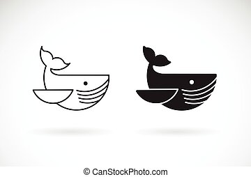 Vector of whale design on white background. Undersea animals. Fish icon or logo. Easy editable layered vector illustration.
