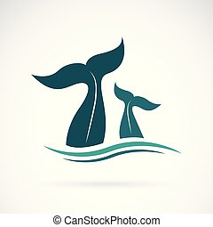 Vector of whale tail design on white background. Animals. Sea creature. Easy editable layered vector illustration.