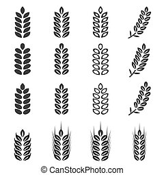 vector of wheat icons set