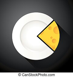 Slice Cheese in the shape pie chart