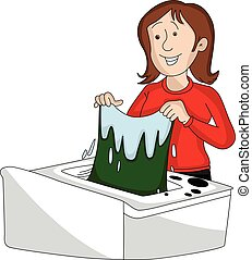 Vector of woman doing laundry.