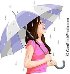 Vector of woman having fun in rain.