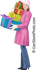 Vector of woman holding stack of gift boxes.